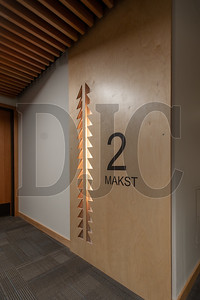 """Even the signage at Nesika Illahee is informed by Native American artwork and culture. Here, a traditional weaving pattern decorates the wall next to the Chinook word for the number """"two."""" (Josh Kulla/DJC)"""