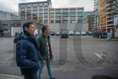 Pearl District Neighborhood Association members David Dysert (left) and Reza Farhood are leading the opposition to a proposed 23-story Hyatt Place hotel on a quarter block parcel at Northwest 12th and Flanders in the Pearl District. (Josh Kulla/DJC)