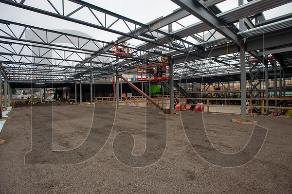 Structural steel erection is nearly complete on the new gymnasium at Tigard High School. (Josh Kulla/DJC)