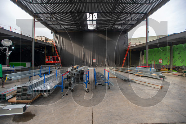 The new cafeteria space is separated from existing food service areas by a temporary wall. (Josh Kulla/DJC)