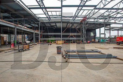 Structural steel erection is nearly complete on the new gymnasium. (Josh Kulla/DJC)
