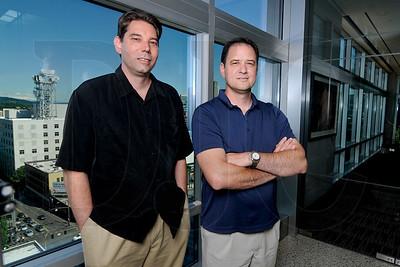 Matt Slaughter, left, and Scott Smith are the president and CEO, respectively, of Corvallis-based soil technology startup Earthfort.