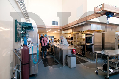 A research and development kitchen and lab allows for production of product samples and simulation of the production process.