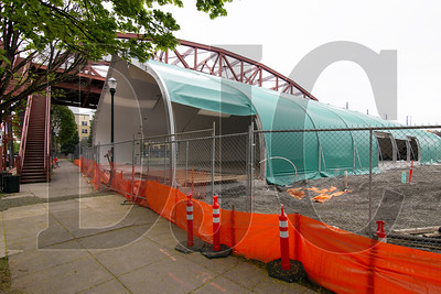 Oregon Harbor of Hope's Navigation Center, pictured while under construction earlier this year, is being appealed by opponents challenging a Type II staff approval of the temporary structure. (Sam Tenney/DJC file)