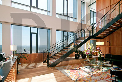 The main lobby features an east-facing, two-story atrium with views of the Willamette River and Mt. Hood.