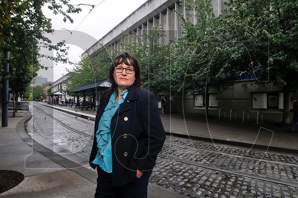 Tracy Prince, president of the Goose Hollows Foothills League, is opposed to the height of a proposed redevelopment of the Oregonian Publishing blocks in the neighborhood. (Sam Tenney/DJC)