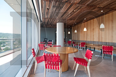 Reclaimed wood was used for the ceiling of the main break room.