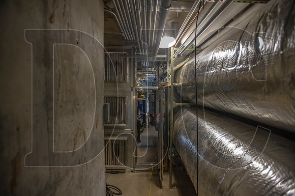 A basement houses the school's ground-floor HVAC ductwork and other utilities and mechanical systems. (Josh Kulla/DJC)