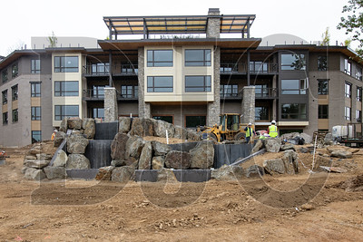 A new senior housing development under construction in Lake Oswego will include a large water feature near the intersection of Boones Ferry Road and Kruse Way. (Sam Tenney/DJC)