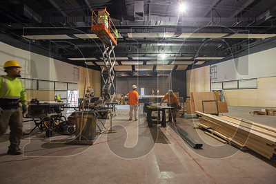 The renovation project includes an updated auditorium, which is being outfitted with new seating, lighting, audio and acoustic paneling. (Josh Kulla/DJC)