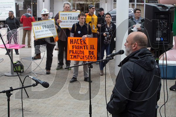 On April 15, Art Cortez, president of The Harver Company and owner of Art Cortez Construction, spoke against wage theft during a union-organized protest at Director Park in Portland. (Sam Tenney/DJC)