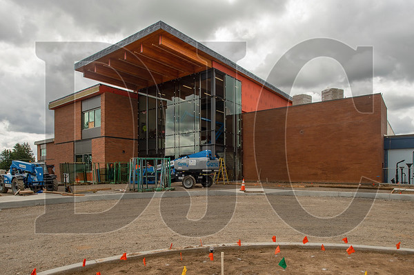 The new entrance to the school features a large curtainwall system. (Josh Kulla/DJC)