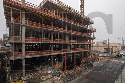 The building was designed by Grec Architecture for developer Gerding Edlen, and is being built by Hoffman Construction on a full-block lot at the corner of East Burnside Street and Southeast Martin Luther King, Jr. Boulevard. (Josh Kulla/DJC)
