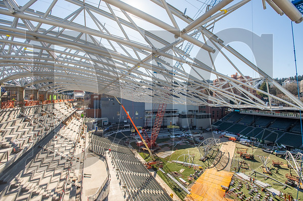 The Providence Park east grandstand expansion is on schedule for completion in time for the Portland Timbers' June 1 home opener against the LA Galaxy. (Josh Kulla/DJC)