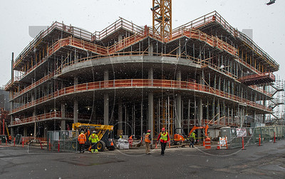 The 17-story 5 MLK project is being erected on a full-block site near the Burnside bridgehead. (Josh Kulla/DJC)