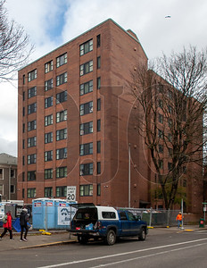 A renovation of the nine-story Williams Plaza building is expected to be finished this September. (Josh Kulla/DJC)