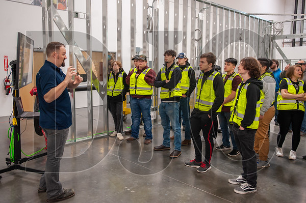 Rosendin Electric BIM Manager Mason Hodges provides instruction in 3-D building information modeling during the March 9-10 school to career event. (Josh Kulla/DJC)