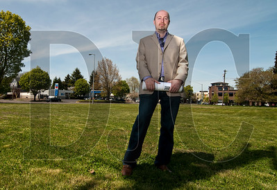 Developer Josh Fuhrer stands at the site of the proposed Ivy City Homes development on Martin Luther King Boulevard in Northeast Portland on Wednesday.   Fuhrer and a partner spent several years developing the project before the PDC backed out.