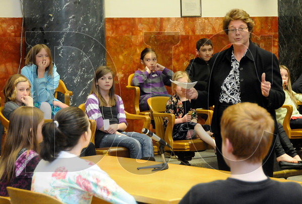 Multnomah County Circuit Court Judge Julie Frantz, right, speaks to children in her courtroom during a Take Your Child to Work Day at the Multnomah County Courthouse in Portland on April 28.