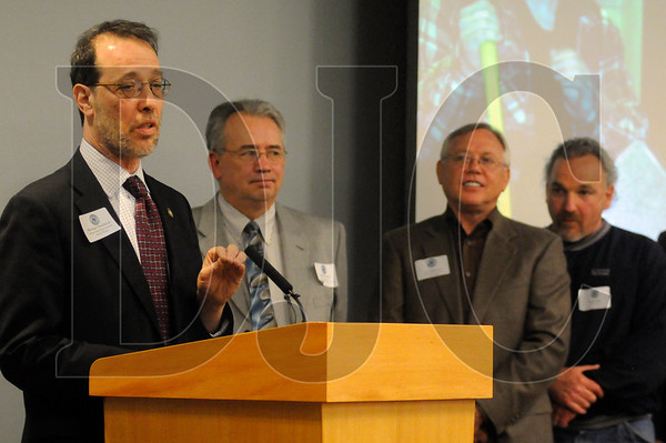 State Representative Michael Dembrow, left, speaks afte accapting a CTE Supporters of the Year award during the OBC Awards Banquet at the Pacific Northwest Carpenters Institute in Portland on Tuesday.   Also pictured are, from second from left, OBC President Neil O'Connor, Secretary Jim McKune, and Vice President Al Devita.