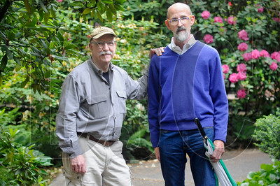 Jim Heuer, left, and Robert Mercer have conducted extensive research into Portland architects since purchasing an early-1900s-era home designed by architect Emil Schact, who was known for his American Craftsman-style designs. (Sam Tenney/DJC)