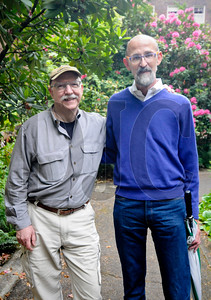 Jim Heuer, left, and Robert Mercer spent years researching and photographing the work of Portland architect Joseph Jacobberger and compiled their findings into a 125-page presentation. (Sam Tenney/DJC)