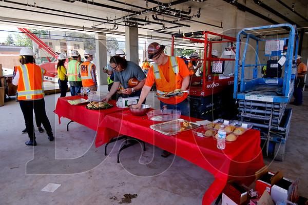 A food cart was brought on site Friday for a catered lunch to celebrate the project's topping out.