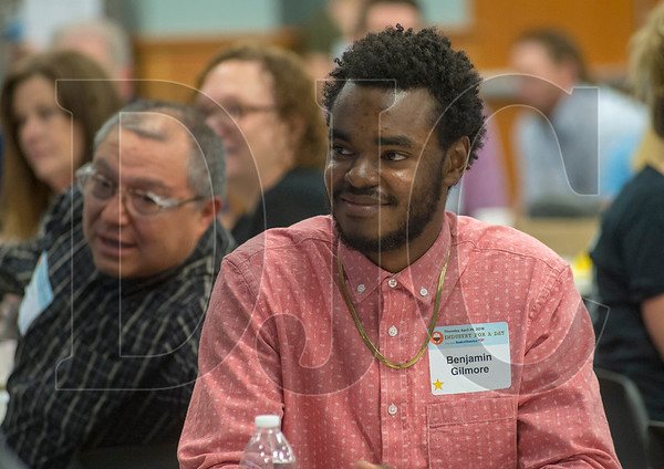 Benjamin Gilmore is working as an apprentice electrician for Dynalectric while also attending classes at the NECA-IBEW Electrical Training Center. (Josh Kulla/DJC)