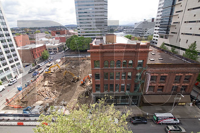 The development will eventually encompass about 7/8ths of the block, with the four-story Auditorium Building, center, being the only existing structure remaining.