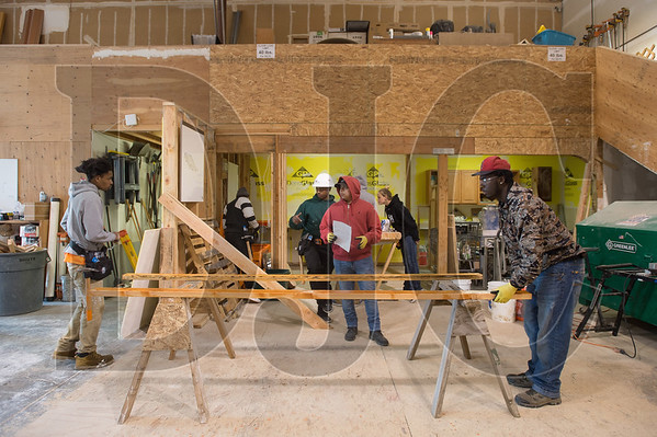 Construction pre-apprentice students participate in an educational session at the Northwest College of Construction, which hosts the Work Opportunity Training program. (Josh Kulla/DJC)