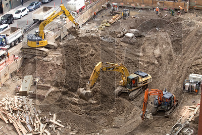 The site is being excavated down to varying levels between approxminately 25 and 35 feet below grade.