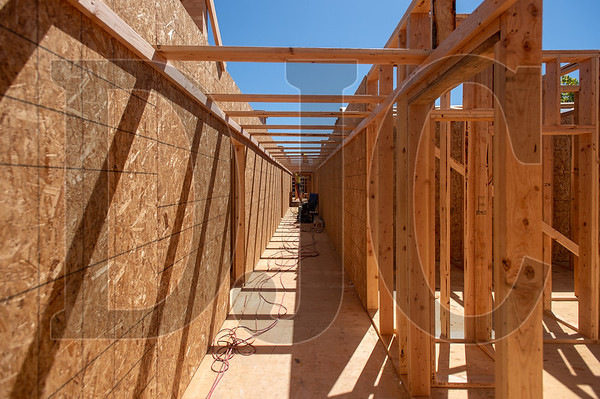 The Magnolia II project in Northeast Portland is being framed with prefabricated panels as part of an effort to increase efficiency in the construction process. (Josh Kulla/DJC)