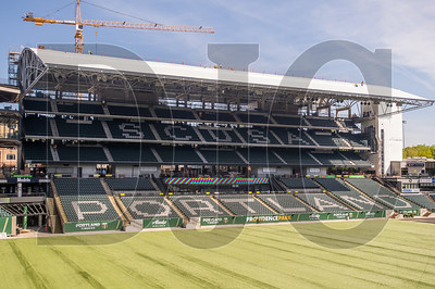 Construction of the new east grandstand at Providence Park is scheduled for completion prior to June 1, when the Portland Timbers will play their first home game of 2019. (Josh Kulla/DJC)