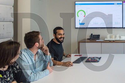 Ehsan Iran-Nejad, right, building information modeling manager for TVA Architects, is spearheading an effort to create open-source plug-ins for the Revit program. (Josh Kulla/DJC)