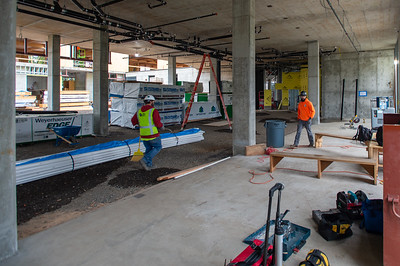 The ground floor of the office building will host vehicle and bicycle parking behind nine separate retail spaces. (Josh Kulla/DJC)