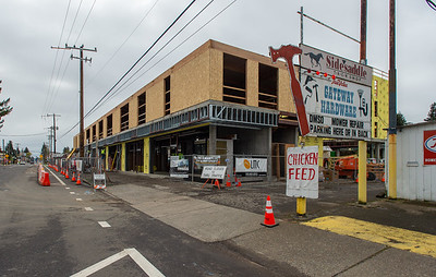 The two-story business wing of the building fronts Northeast Halsey Street. (Josh Kulla/DJC)