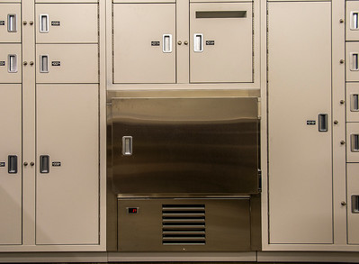 A small refrigerated storage locker. in the building's evidence room. (Josh Kulla/DJC)