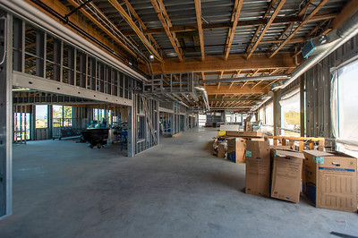 The layout of the classroom wing features repeating classroom spaces with floor-to-ceiling glazing around the entrances for transparency and daylighting. (Josh Kulla/DJC)
