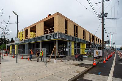 The new building fronts Northeast Halsey Street in the Gateway district. (Josh Kulla/DJC)