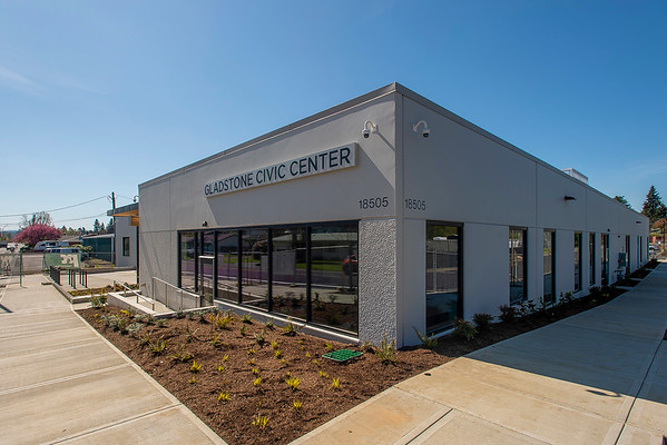 The new Gladstone Civic Center combines police and civic uses in one facility designed by Scott | Edwards Architecture. (Josh Kulla/DJC)