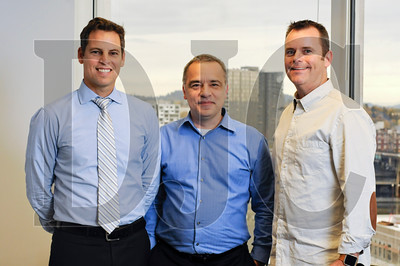 From left, Dennis Allen of Holland Partner Group, Sam Rodriguqez of Mill Creek Residential Trust, and Tim O'Brien of Urban Asset Advisors comprise the leadership team of Oregon LOCUS. The group, whose membership is comprised of many prominent local developers, is hoping to alter the City of Portland's planned inclusionary housing program, which they argue would bring residential development in the city to a halt. (Sam Tenney/DJC)
