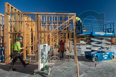 Carpenters with DSL Builders frame classroom walls at the Ogden Elementary School project in Vancouver. (Josh Kulla/DJC)
