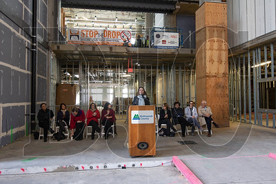 Multnomah County Chairwoman Deboray Kafoury speaks in the building's main lobby, which will contain a grand staircase up to third-floor jury assembly areas featuring views of the Willamette River, Hawthorne Bridge and Mt. Hood.