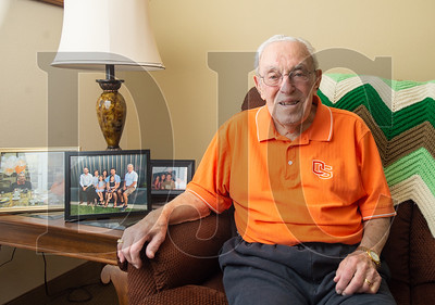 Bud Ossey, a storied civil engineer who is now an active Oregon State University booster, turned 100 on Nov. 5. (Josh Kulla//DJC)