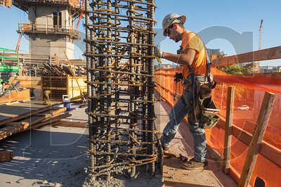 Robert Sanchez, a journeyman carpenter with Carpenters Local 271 and an employee of Marion Construction, builds formwork in preparation for a concrete pour at the 7 Southeast Stark.