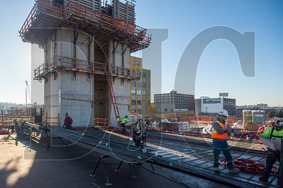 Crews with R2M2 Rebar and Stressing and Marion Construction lay down post-tensioning cables and build formwork prior to the a deck pour, the project's sixth.