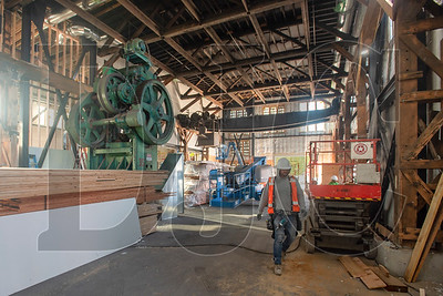 An original press and gantry crane will be kept in place in The Redd East as a testament to the building's past as a foundry and ironworks. (Josh Kulla/DJC)