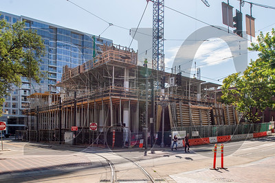 The Fourth and Montgomery project is being built with MAX and Streetcar lines running on three sides of the building. (Josh Kulla/DJC)