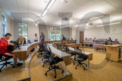 Classrooms at Dundon-Berchtold Hall have capacity for between 40 and 90 students, and offer multiple options for layouts to accomodate various seating arrangements. (Sam Tenney/DJC)