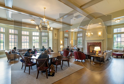 A first-floor study space features a red marble fireplace, hardwood floors and soft furniture. According to Jim Ravelli, vice president for university operations, the study hall is already among the most popular places on campus. (Sam Tenney/DJC)